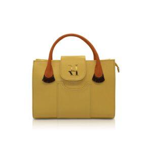 Yellow flecos baguette bag